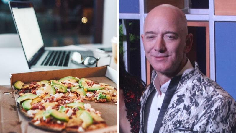 A pizza and a notebook computer on the left, and Jeff Bezos on the right.