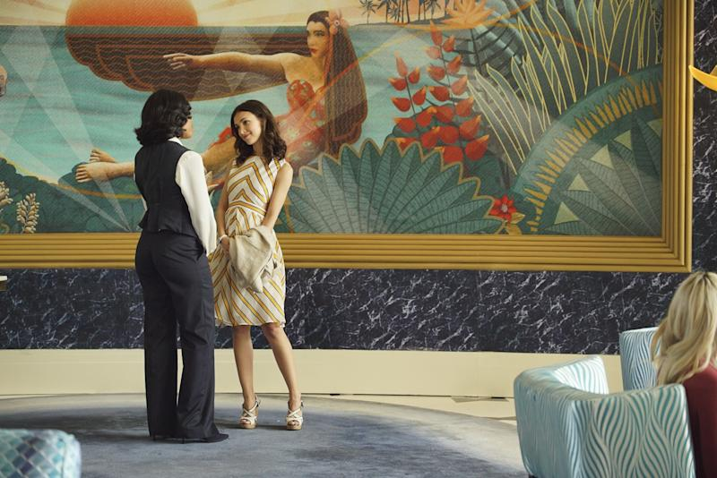 Stars Denyse Tontz and Wendy Raquel Robinson in a scene that takes place in the Fontainebleau's iconic lobby.