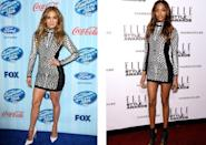 <p>Jourdan Dunn wore this form-fitting Tom Ford number just a month after Jennifer debuted it on 'American Idol' <i>[Photo: Rex]</i></p>