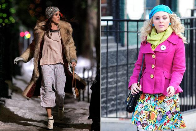 Carrie has this way of putting pieces you'd never think would work well together but she somehow can pull it off. Who would have ever thought that anyone could look so stylish running around the streets of New York in a fur coat, pajamas, and booties?! Her younger self seems to agree. Wearing clashing neon colors of pink, blue, and green, and a skirt with graphic food prints is just as strange but still looks good anyway.