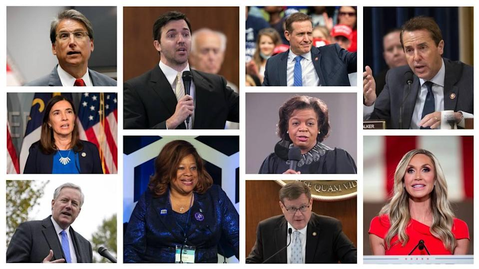 The following have said they are running, are not running or have been part of the discussion for the US Senate seat in 2022 to represent North Carolina. Top row: Pat McCrory, Jeff Jackson, Ted Budd, Mark Walker. Middle row: Anita Earls, Cheri Beasley. Bottom row: Mark Meadows, Erica Smith, Tim Moore, Lara Trump.