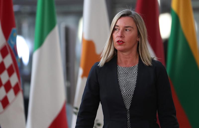 EU foreign policy chief Federica Mogherini (pictured April 10, 2019) and Trade Commissioner Cecilia Malmstrom urged Pompeo to stick to what they said was an agreement on managing policy differences over Cuba (AFP Photo/KENZO TRIBOUILLARD)