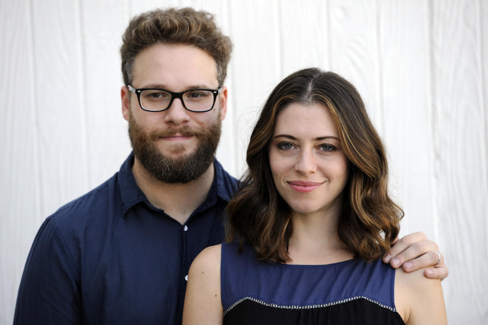 Actors/writers Seth Rogen and his wife Lauren Miller Rogen pose together for a portrait on Monday, Oct. 13, 2014, in Los Angeles. Rogen and his wife co-lead Hilarity for Charity, a movement established with the Alzheimer's Association to raise awareness of Alzheimer's Disease. (Photo by Chris Pizzello/Invision/AP)
