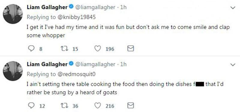 On a rant: Liam Gallagher is having a go on Twitter (Twitter/ Liam Gallagher)
