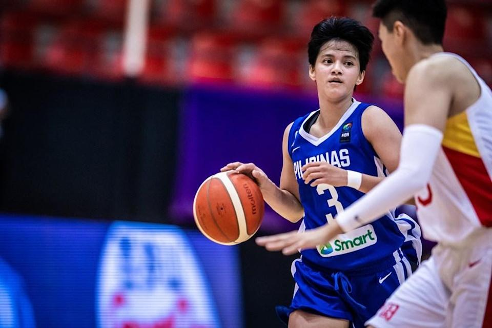 Afril Bernardino emerges as lone double-digit scorer with 17 in Philippines' loss to China in the 2021 FIBA Women's Asia Cup. (Photo: fiba.basketball)