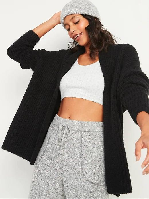 <p>Keep an <span>Old Navy Slouchy Open-Front Sweater</span> ($28, originally $45) on hand when there's aggressive air-conditioning in an office and wear it to pop out on chilly fall days, too.</p>