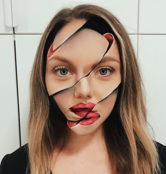 Can you believe this optical illusion was created with makeup? Photo: Instagram