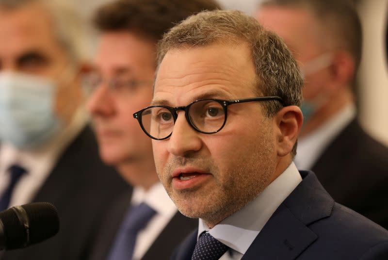 FILE PHOTO: Gebran Bassil, head of the Free Patriotic movement, speaks at the presidential palace in Baabda
