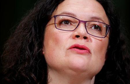 FILE PHOTO: German Social Democratic Party (SPD) leader Nahles delivers a statement following the Hesse state election, in Berlin