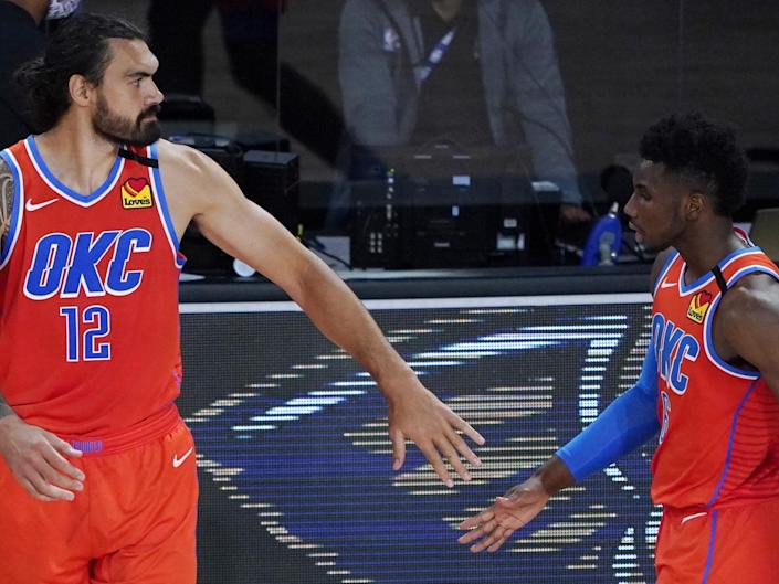 Oklahoma City team-mates Steven Adams (left) and Hamidou Diallo: Getty Images