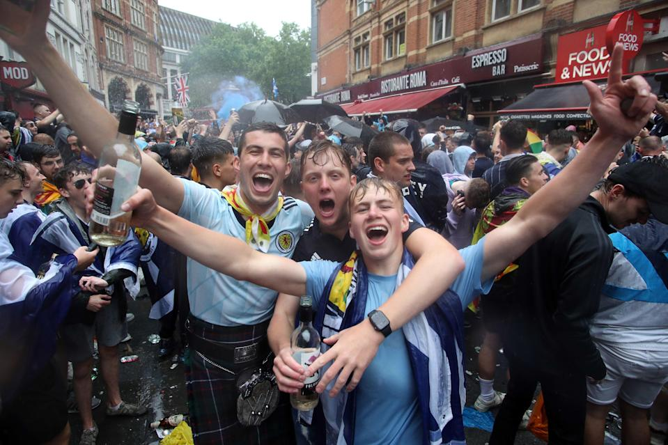 Scotland fans gather in Leicester Square before the Euro 2020 match (PA)