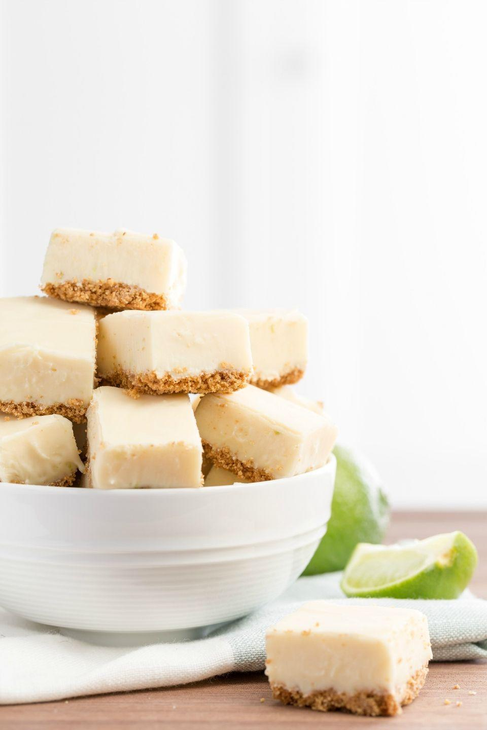 """<p>Who says fudge is just for winter?</p><p>Get the recipe from <a href=""""https://www.delish.com/cooking/recipe-ideas/recipes/a45749/key-lime-pie-fudge/"""" rel=""""nofollow noopener"""" target=""""_blank"""" data-ylk=""""slk:Delish"""" class=""""link rapid-noclick-resp"""">Delish</a>.</p>"""