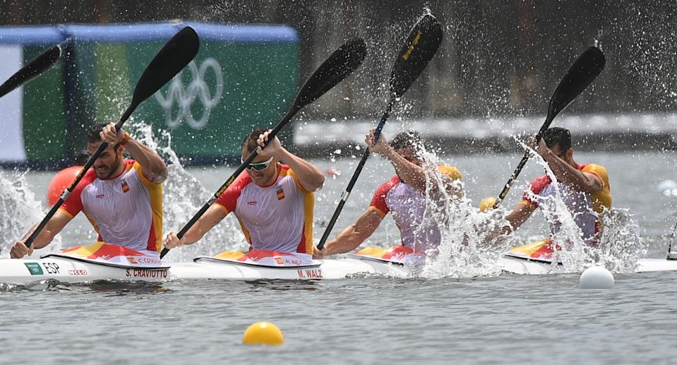 Spain's Saul Craviotto, Spain's Marcus Walz, Spain's Carlos Arevalo and Spain's Rodrigo Germade compete to winning the silver medal in the men's kayak four 500m final during the Tokyo 2020 Olympic Games at Sea Forest Waterway in Tokyo on August 7, 2021. (Photo by Philip FONG / AFP) (Photo by PHILIP FONG/AFP via Getty Images)