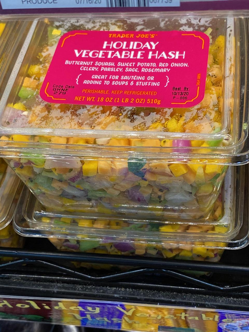 """<p>Look for this holiday vegetable hash in the fridge section, and use it to make <a href=""""https://www.popsugar.com/fitness/Healthy-Recipe-Cranberry-Pear-Wild-Rice-Stuffing-2515711"""" class=""""link rapid-noclick-resp"""" rel=""""nofollow noopener"""" target=""""_blank"""" data-ylk=""""slk:vegan cranberry-pear wild rice stuffing"""">vegan cranberry-pear wild rice stuffing</a>, a veggie soup, or a <a href=""""https://www.popsugar.com/fitness/photo-gallery/40532517/image/40532528/Vegan-Lentil-Shepherd-Pie"""" class=""""link rapid-noclick-resp"""" rel=""""nofollow noopener"""" target=""""_blank"""" data-ylk=""""slk:vegan shepherd's pie"""">vegan shepherd's pie</a>.</p>"""