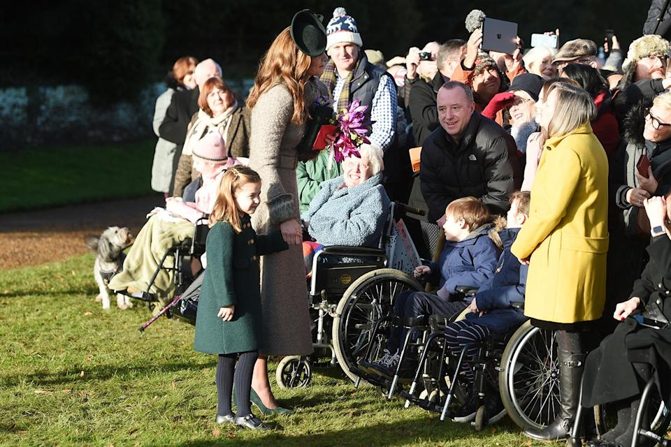 <p>Charlotte joined her mom to speak to locals along the route.</p>