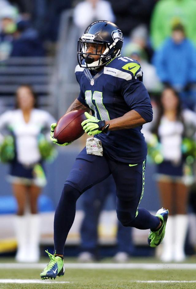 Seattle Seahawks' Percy Harvin returns the ball against the Minnesota Vikings on a kick off in the first half of an NFL football game Sunday, Nov. 17, 2013, in Seattle. (AP Photo/John Froschauer)