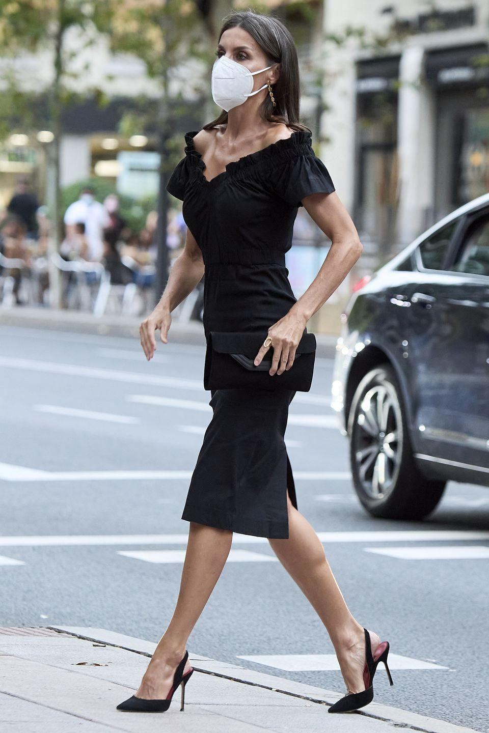 <p><strong>6 September</strong></p><p>Queen Letizia of Spain looked chic in an all-black ensemble in Marid. </p>