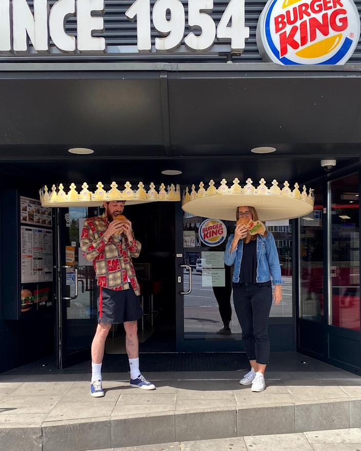"""<div class=""""caption""""> Burger Kings in Germany have created what they call the """"social-distance crowns."""" </div> <cite class=""""credit"""">Photo: Courtesy of Burger King</cite>"""