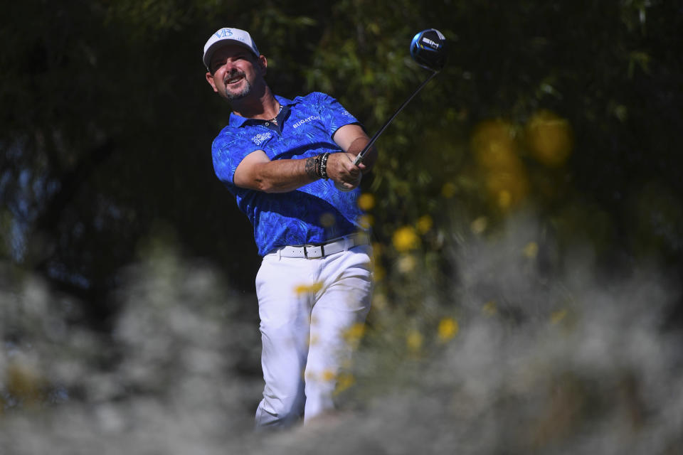 Rory Sabbatini watches his drive during the Shriners Children's Open golf tournament, Sunday, Oct. 10, 2021, at TPC Summerlin in Las Vegas. (AP Photo/Sam Morris)