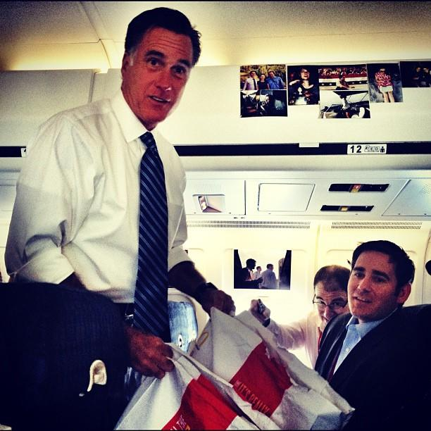 Romney tries to convince reporters trying to avoid junk food to eat McDonalds (Weyers Cave VA)