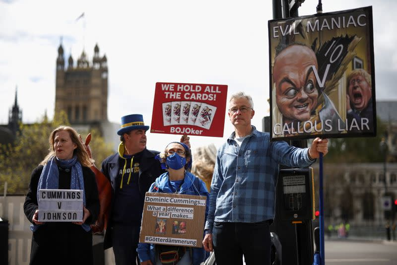 Steve Bray and other anti-Brexit protesters, demonstrate, in London