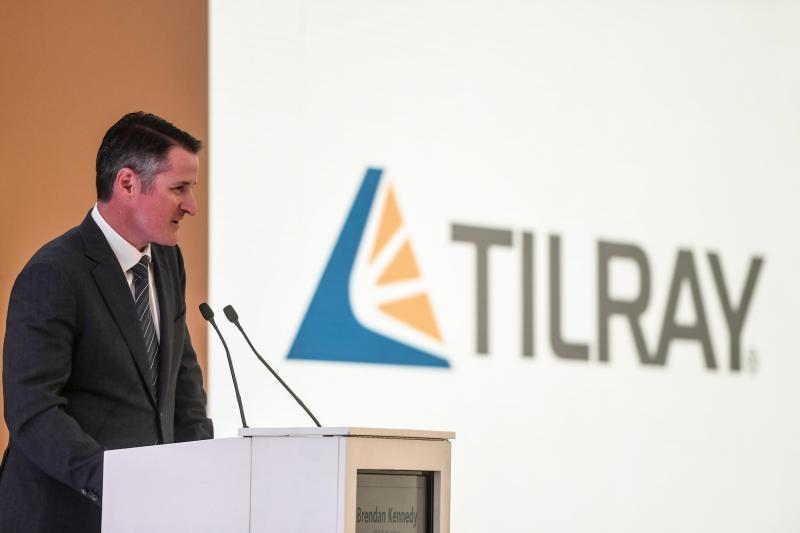 US businessman, Brendan Kennedy, CEO of Tilray medical cannabis producer, delivers a speech during the inauguration of the Canadian company's European production site in Cantanhede, on April 24, 2018. - The Canadian company Tilray, which aims to become one of the world's leaders in the therapeutic cannabis industry, inaugurated its European production site today in the central Portuguese town of Cantanhede. (Photo by PATRICIA DE MELO MOREIRA / AFP) (Photo credit should read PATRICIA DE MELO MOREIRA/AFP/Getty Images)
