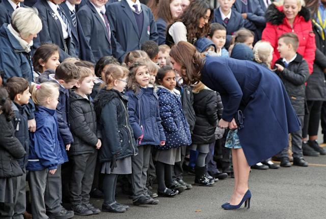 The Duchess of Cambridge meets pupils at the Reach Academy. (Photo: Getty Images)