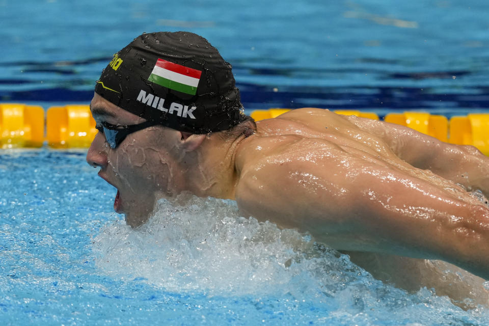 Kristof Milak, of Hungary, swims in a men's 200-meter butterfly final at the 2020 Summer Olympics, Wednesday, July 28, 2021, in Tokyo, Japan. (AP Photo/Charlie Riedel)