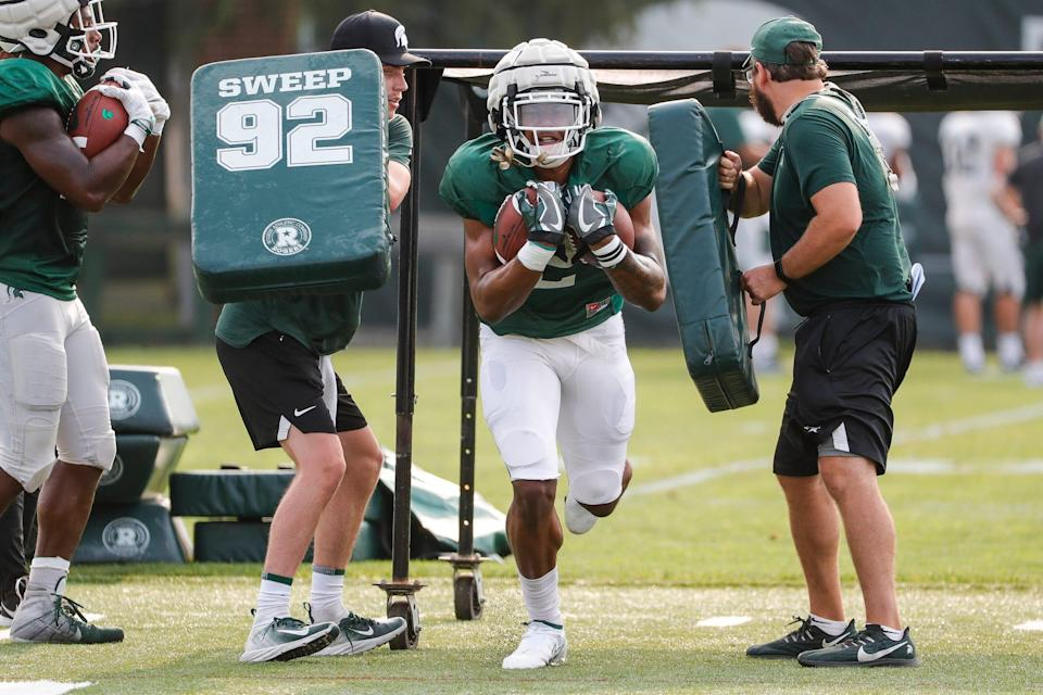 Michigan State running back Harold Joiner (2) practices Wednesday, Aug. 11, 2021 at the team's facility in East Lansing.