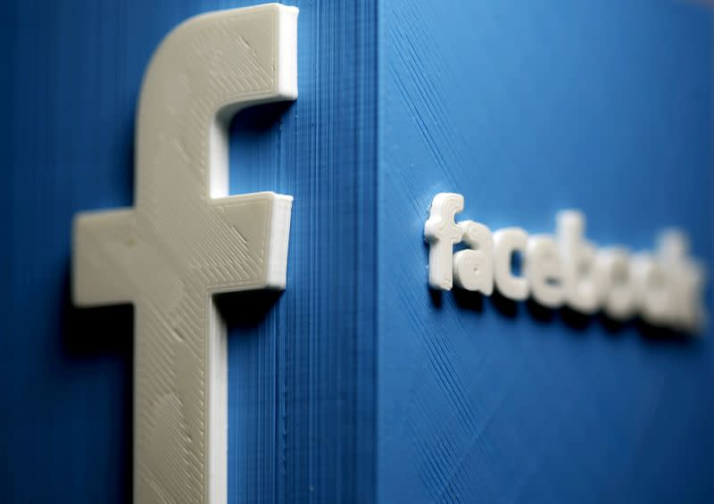 FILE PHOTO: A 3D plastic representation of the Facebook logo is seen in this illustration in Zenica