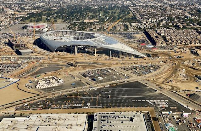 """An aerial view of the still-under-construction SoFi Stadium, future home of the Rams and Chargers, on Feb. 6, 2020. <span class=""""copyright"""">(Daniel Slim / AFP via Getty Images)</span>"""