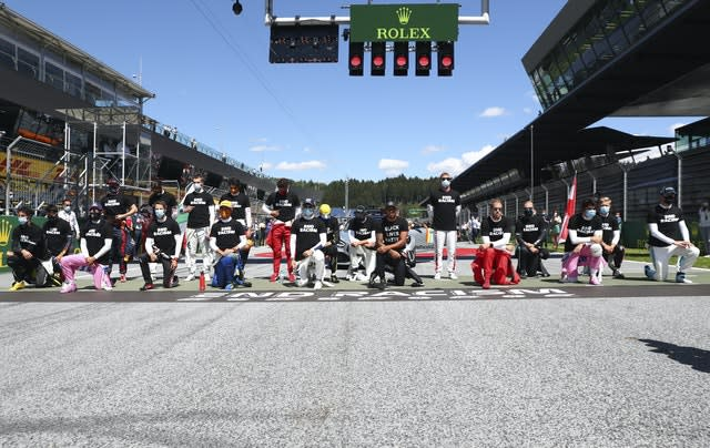 Six drivers chose remain standing during the Austrian national anthem