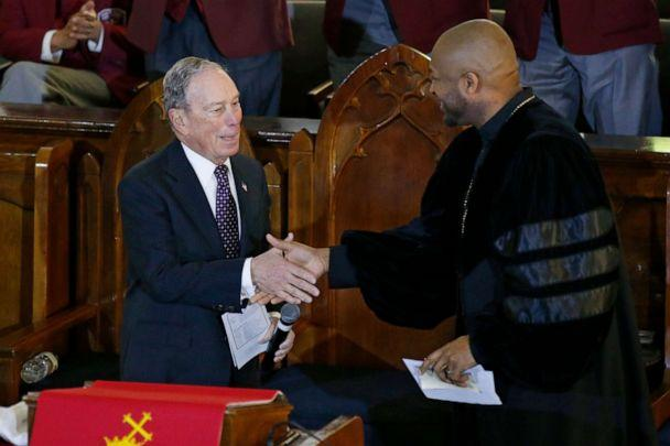 PHOTO: Democratic Presidential candidate Michael Bloomberg, left, greets the Rev. Robert Turner, right, during a service at the Vernon Chapel African Methodist Episcopal Church in Tulsa, Okla., Sunday, Jan. 19, 2020. (Sue Ogrocki/AP)