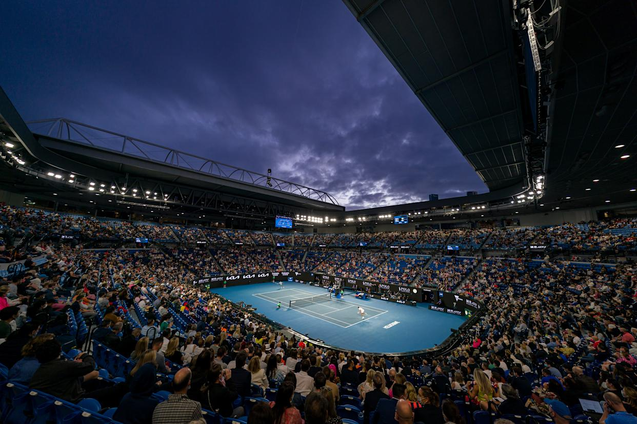 MELBOURNE, AUSTRALIA - FEBRUARY 21: A general view of Rod Laver Arena during the Men's Singles Final match between Novak Djokovic of Serbia and Daniil Medvedev of Russia during day 14 of the 2021 Australian Open at Melbourne Park on February 21, 2021 in Melbourne, Australia. (Photo by Andy Cheung/Getty Images)