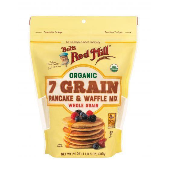 """<p><strong>Bob's Red Mill</strong></p><p>amazon.com</p><p><strong>$14.31</strong></p><p><a href=""""https://www.amazon.com/dp/B07PHFTFM3?tag=syn-yahoo-20&ascsubtag=%5Bartid%7C2164.g.36547983%5Bsrc%7Cyahoo-us"""" rel=""""nofollow noopener"""" target=""""_blank"""" data-ylk=""""slk:Shop Now"""" class=""""link rapid-noclick-resp"""">Shop Now</a></p><p>Bob's Red Mill is known for quality whole-grain products, and this pancake and waffle mix is no exception. The nutritious flour blend includes whole-grain wheat, rye, spelt, corn, oat, Kamut, quinoa, and brown rice flours, and flaxseed meal.</p>"""