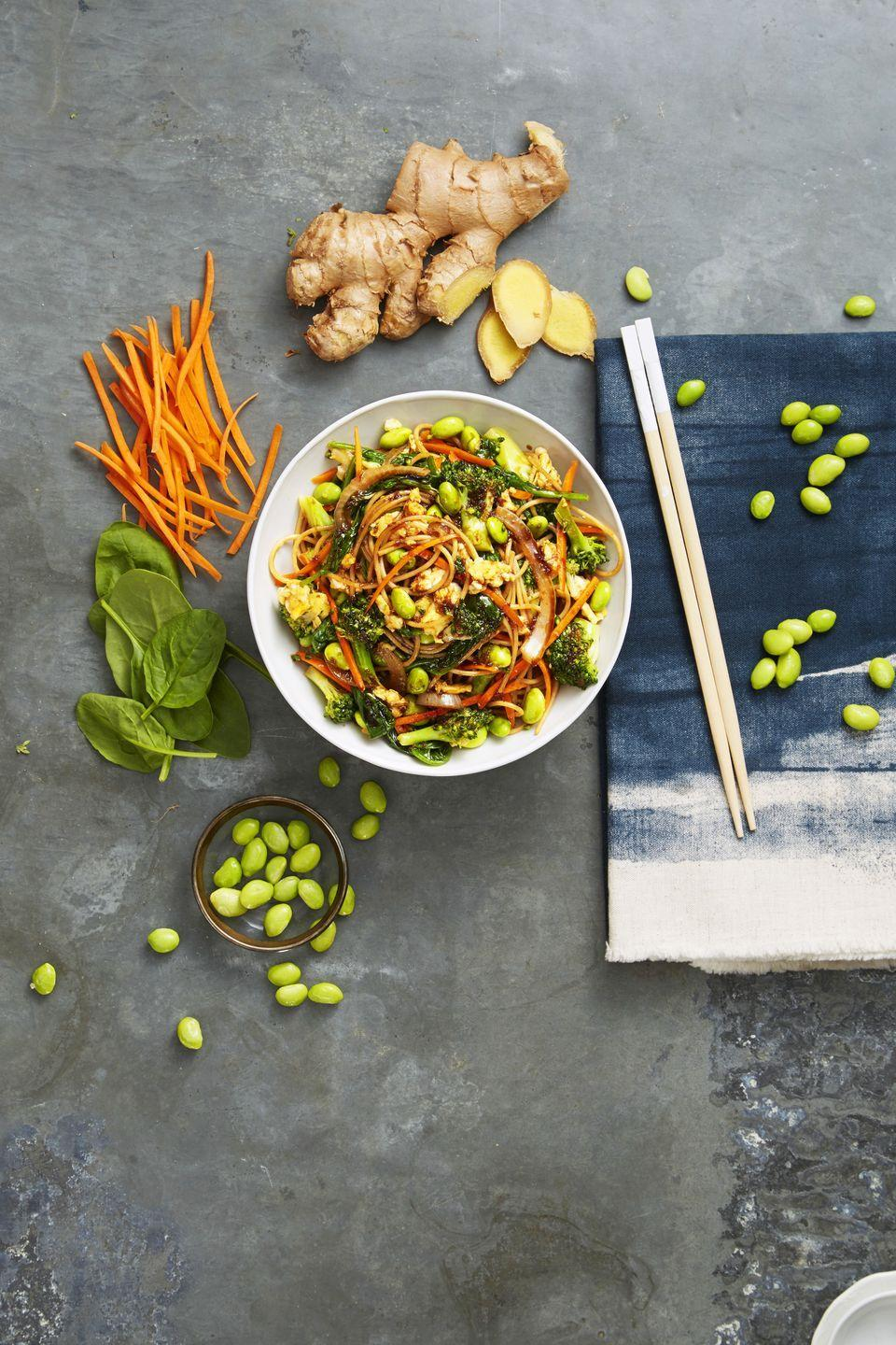 """<p>Sometimes you can't be bothered to cook for longer than 15 minutes. On those days, these noodles are your BFF.</p><p><a href=""""https://www.goodhousekeeping.com/food-recipes/easy/a34238/veggie-lo-mein/"""" rel=""""nofollow noopener"""" target=""""_blank"""" data-ylk=""""slk:Get the recipe for Veggie Lo Mein »"""" class=""""link rapid-noclick-resp""""><em><span class=""""redactor-invisible-space"""">Get the recipe for Veggie Lo Mein »</span> </em></a><br></p>"""