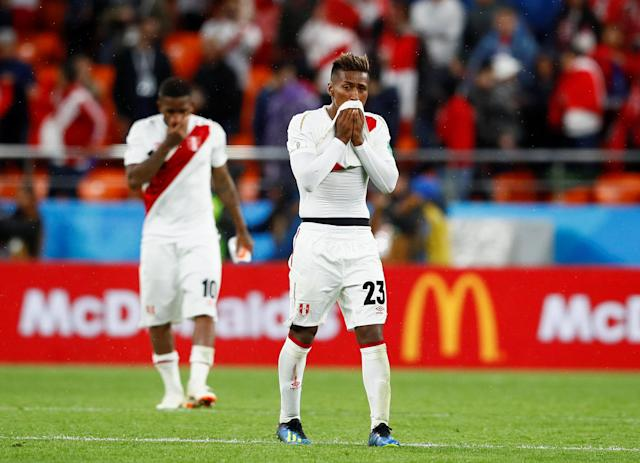 Soccer Football - World Cup - Group C - France vs Peru - Ekaterinburg Arena, Yekaterinburg, Russia - June 21, 2018 Peru's Pedro Aquino looks dejected after the match REUTERS/Jason Cairnduff