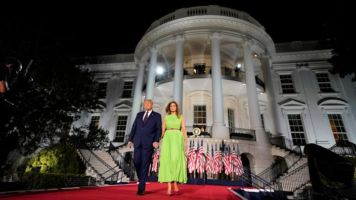 President Donald Trump and first lady Melania Trump arrive for his acceptance speech to the Republican National Committee Convention on the South Lawn of the White House, Thursday, Aug. 27, 2020, in Washington.
