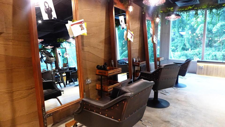 <p>Customers coming for a hair fix will be seated in these comfortable rustic chairs in front of full length mirrors. </p>