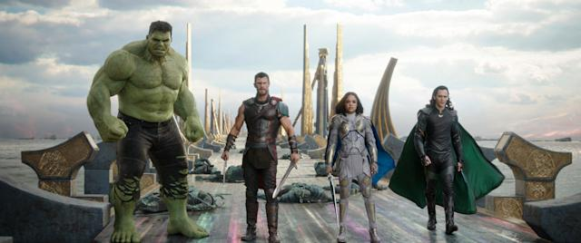 From left, the Hulk (voiced by Mark Ruffalo), Thor (Chris Hemsworth), Valkyrie (Tessa Thompson), and Loki (Tom Hiddleston) in <em>Thor: Ragnarok</em>. (Photo: Marvel Studios)
