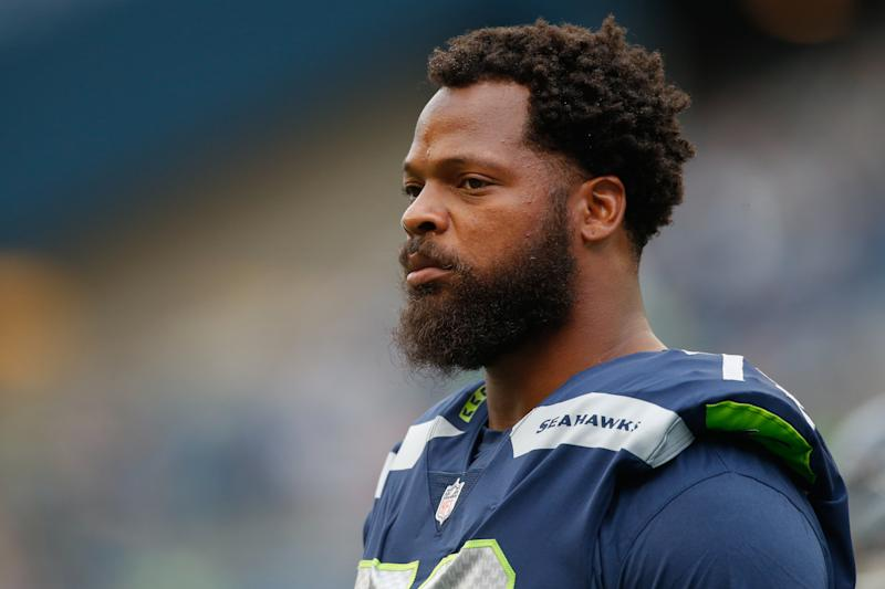 Seattle Seahawks player Michael Bennett said Las Vegas police abused him, threatened his life and violated his rights. (Otto Greule Jr via Getty Images)