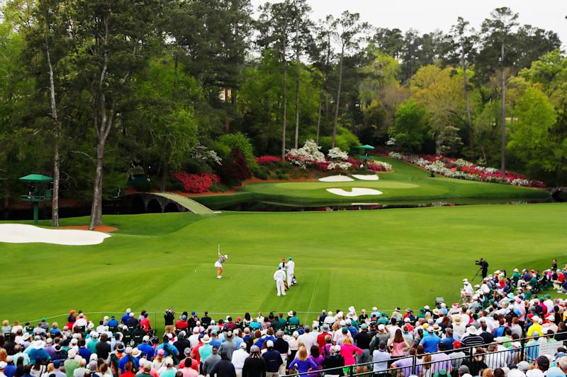 Jennifer Kupcho plays her shot from the 12th tee during the final round of the inaugural Augusta National Women's Amateur.