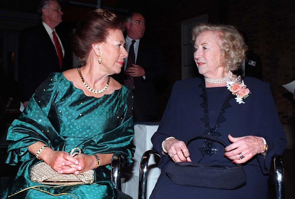<p>Princess Margaret wore an all-gold set to a party at the Imperial War Museum in March 1997. <br></p>