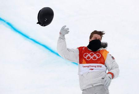 FILE PHOTO: Snowboarding - Pyeongchang 2018 Winter Olympics - Men's Halfpipe Finals - Phoenix Snow Park in Pyeongchang, South Korea February 14, 2018 - Shaun White of the U.S. reacts. REUTERS/Issei Kato/File Photo