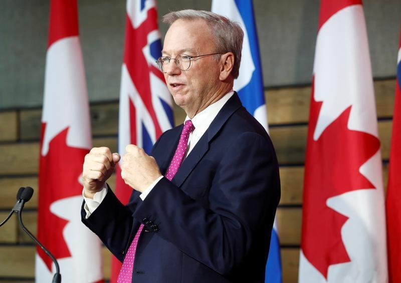 """Executive Chairman of Alphabet Schmidt speaks during a press conference where Alphabet Inc, the owner of Google, announced the project """"Sidewalk Toronto"""", in Toronto"""