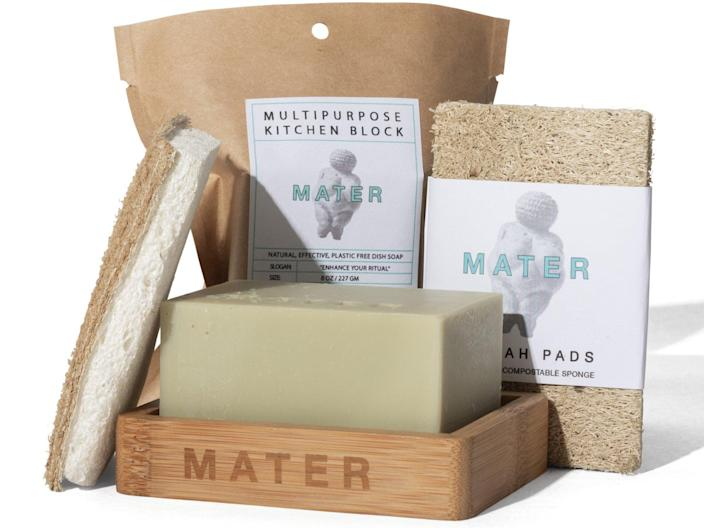 """Mater Soap's <a href=""""https://www.matersoap.com/bar-soap/mater-kitchen-pack"""" rel=""""nofollow noopener"""" target=""""_blank"""" data-ylk=""""slk:Kitchen Set"""" class=""""link rapid-noclick-resp"""">Kitchen Set</a> is a simple, plastic-free natural alternative for your kitchen sink that combines multi-purpose handmade kitchen soap with a bamboo soap dish that helps the soap air dry in between uses. It is biodegradable, zero-waste, and septic safe, and its all-natural ingredients make it tough enough for dishes, pots, pans, and even countertops—but still soft enough for your delicate hands. $30, Mater Soap. <a href=""""https://www.matersoap.com/bar-soap/mater-kitchen-pack"""" rel=""""nofollow noopener"""" target=""""_blank"""" data-ylk=""""slk:Get it now!"""" class=""""link rapid-noclick-resp"""">Get it now!</a>"""