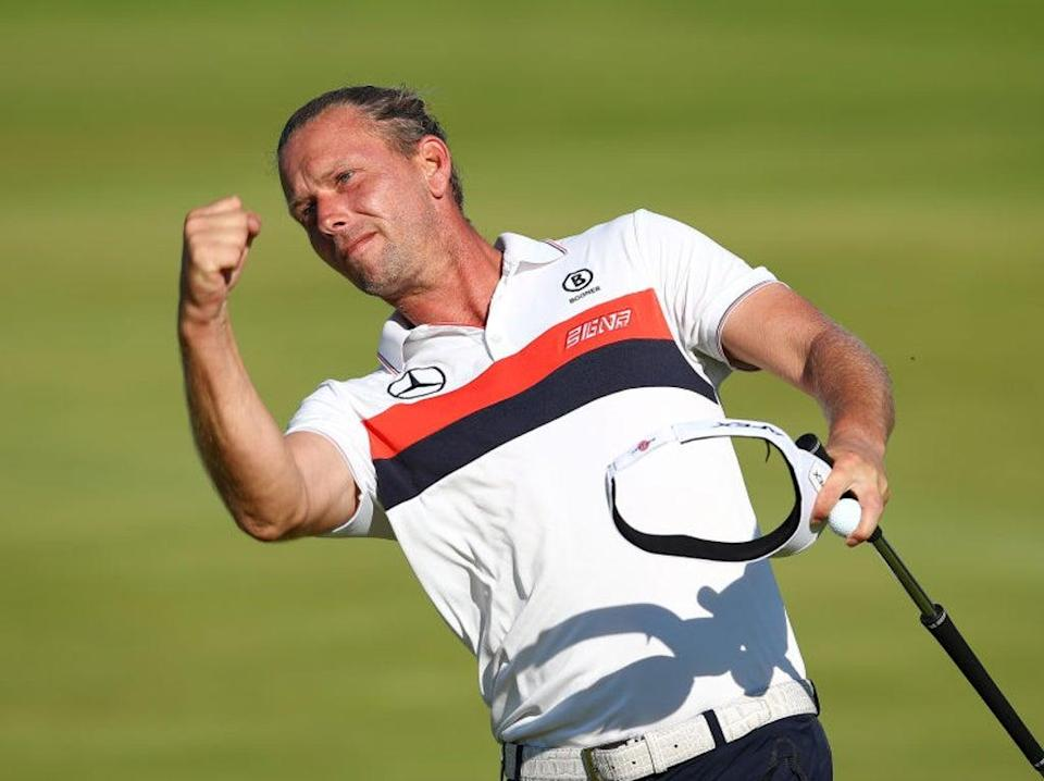 Marcel Siem celebrates at The Open in July (Getty)