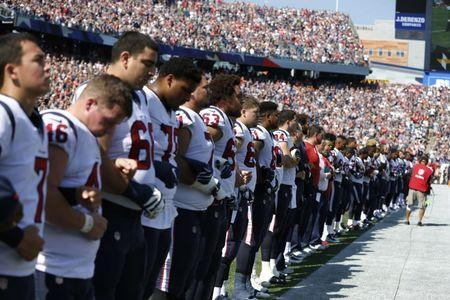 Sep 24, 2017; Foxborough, MA, USA; The Houston Texans stand during the national anthem before a game against the New England Patriots at Gillette Stadium. Mandatory Credit: Greg M. Cooper-USA TODAY Sports