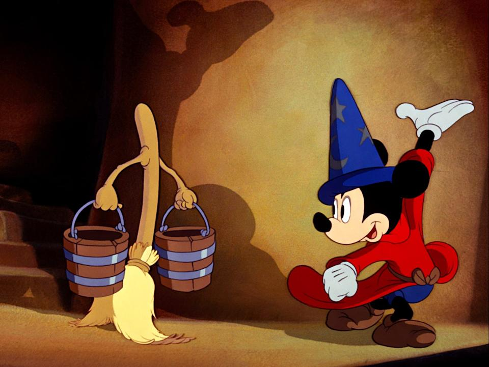 """Mickey Mouse as the Sorcerer's Apprentice in """"Fantasia."""""""