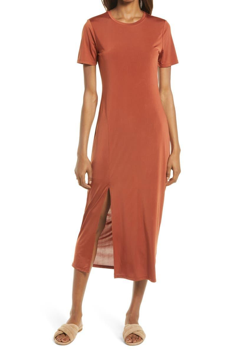 """<strong><h2>Charles Henry Front Slit Midi T-Shirt Dress</h2></strong><br><strong>SELLING FAST</strong><br>Stylish doesn't have to mean uncomfortable. Embrace the comfort-first mentality with this smooth jersey midi dress, currently 41% off. <br><br><em>Shop more <a href=""""https://go.skimresources.com/?id=30283X879131&xs=1&url=https%3A%2F%2Fwww.nordstrom.com%2Fbrowse%2Fanniversary-sale%2Fall%3Fcampaign%3D0728publicgnpt1%26jid%3Dj012165-15573%26cid%3D00000%26cm_sp%3Dmerch-_-anniversary_15573_j012165-_-catpromo_corp_persnav_shop%26%3D%26postalCodeAvailability%3D10543%26filterByProductType%3Dclothing_dresses&sref=https%3A%2F%2Fwww.refinery29.com%2Fen-us%2Fnordstrom-anniversary-sale-best-sellers"""" rel=""""nofollow noopener"""" target=""""_blank"""" data-ylk=""""slk:Nordstrom Anniversary Sale dresses"""" class=""""link rapid-noclick-resp"""">Nordstrom Anniversary Sale dresses</a></em><br><br><strong>Charles Henry</strong> Front Slit Midi T-Shirt Dress, $, available at <a href=""""https://go.skimresources.com/?id=30283X879131&url=https%3A%2F%2Fwww.nordstrom.com%2Fs%2Fcharles-henry-front-slit-midi-t-shirt-dress%2F5941107"""" rel=""""nofollow noopener"""" target=""""_blank"""" data-ylk=""""slk:Nordstrom"""" class=""""link rapid-noclick-resp"""">Nordstrom</a>"""